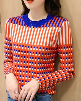 Autumn and winter sweater stripe tops for women