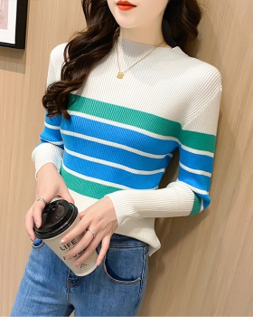 Mixed colors stripe tops cstand collar sweater for women