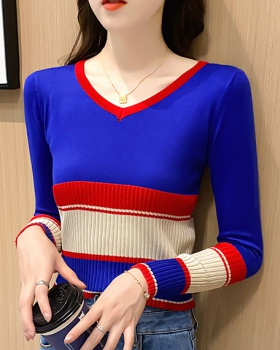 Stripe mixed colors sweater high waist tops for women