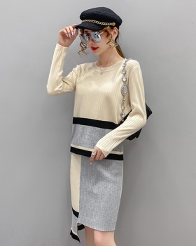 Loose round neck sweater knitted tops a set
