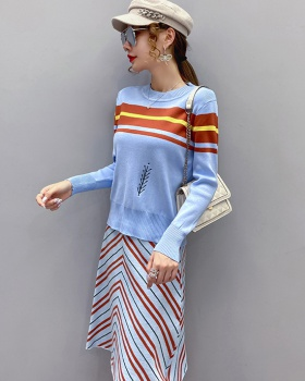Loose knitted sweater round neck tops 2pcs set