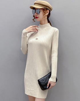Half high collar thick dress knitted sweater