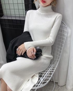 Split knitted sweater dress long dress for women