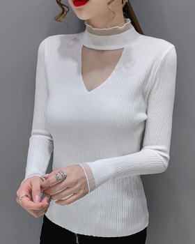 Sexy temperament sweater gauze collar T-shirt for women