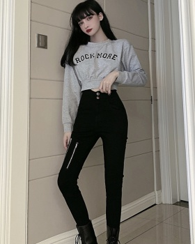 Tight high waist hoodie embroidery navel pencil pants