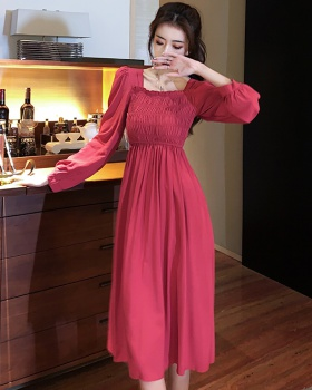 Tender square collar retro long lady pinched waist dress