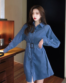France style retro denim shirt temperament loose skirt