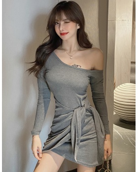 Bandage sloping shoulder T-back sexy shoulder dress for women