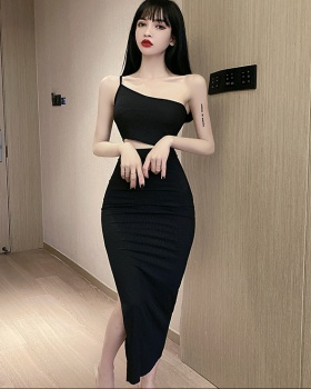 Temperament oblique collar package hip sexy long dress
