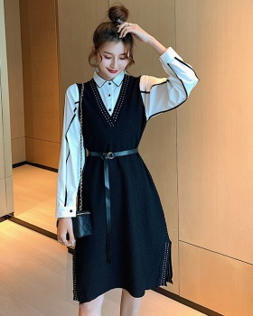 Western style shirt knitted skirt 2pcs set for women