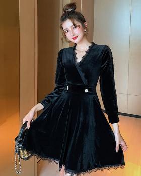 Korean style watkins gauze fashion splice temperament dress