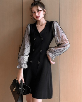 Splice knitted slim dress gauze trumpet sleeves business suit