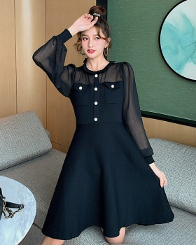 Pinched waist autumn temperament wood ear bottoming dress