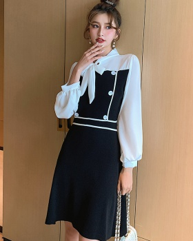 Knitted autumn fashion fashion and elegant temperament dress