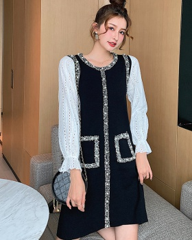 Autumn Pseudo-two dress knitted sweater dress