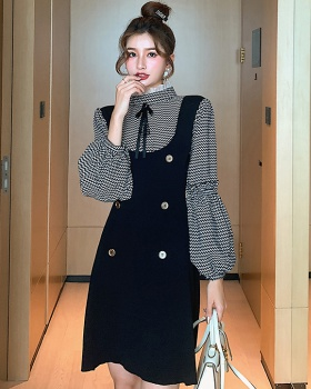 Autumn and winter knitted Pseudo-two pinched waist dress