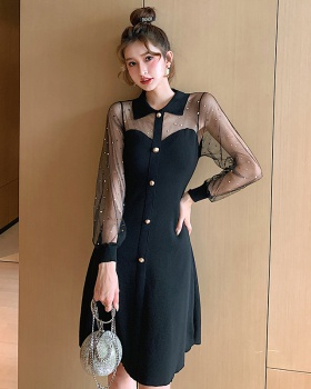 Light knitted slim gauze sexy splice dress