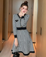 Autumn knitted fashion and elegant plaid retro dress
