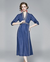 Long Chinese style long dress loose autumn dress