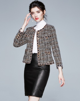 Classic woolen fashion and elegant coarse flower jacket