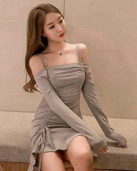 Sling bottoming long sleeve package hip dress