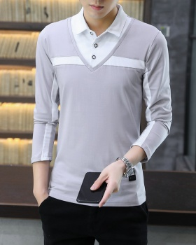 Long sleeve slim youth T-shirt Pseudo-two lapel shirts