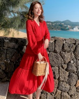 Red seaside dress vacation beach dress for women