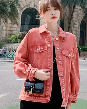 Long sleeve single-breasted pure autumn denim colors coat