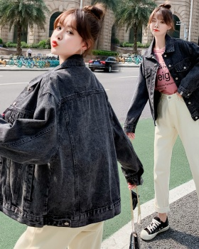 Denim loose concise black generous coat