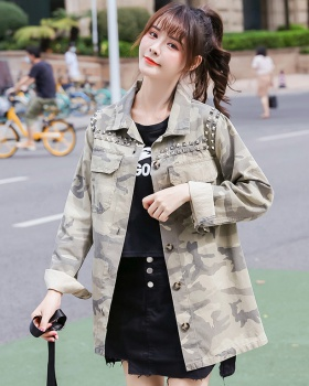 Denim rivet camouflage coat