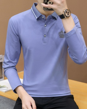 Long sleeve lapel tops thick pure cotton T-shirt for men