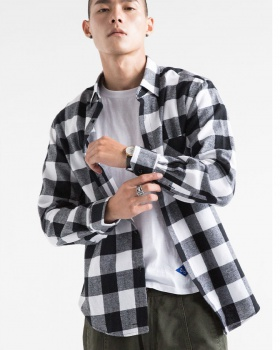 Sueding classic plaid long sleeve all-match shirt for men
