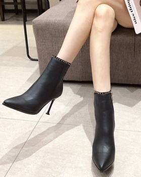Pointed rivet martin boots European style slim short boots