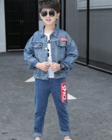 Boy child tops denim Korean style kids 3pcs set