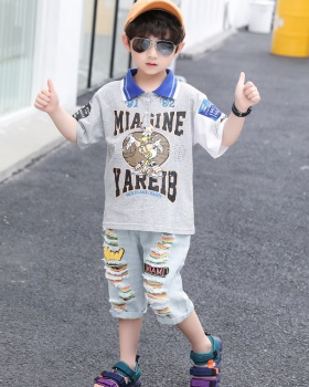 Korean style summer jeans big child T-shirt 2pcs set