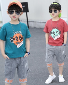 Handsome short sleeve jeans boy T-shirt 2pcs set