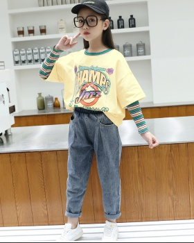 Autumn girl kids Korean style child jeans 2pcs set
