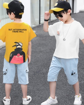 Boy Korean style jeans Western style T-shirt 2pcs set