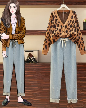 Autumn cardigan large yard jeans 2pcs set for women
