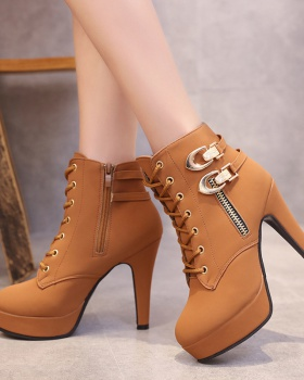 Large yard platform side zipper short boots for women