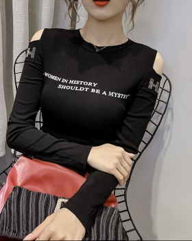 Fashion long sleeve T-shirt tight strapless bottoming shirt