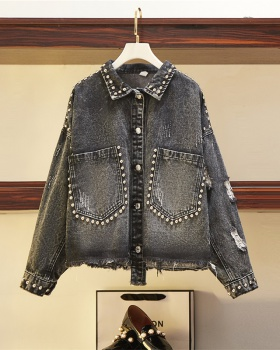 Large yard denim slim autumn Western style coat