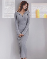 Split Casual dress hooded Korean style long dress