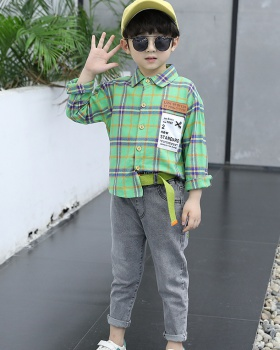 Child plaid shirt Western style handsome tops a set