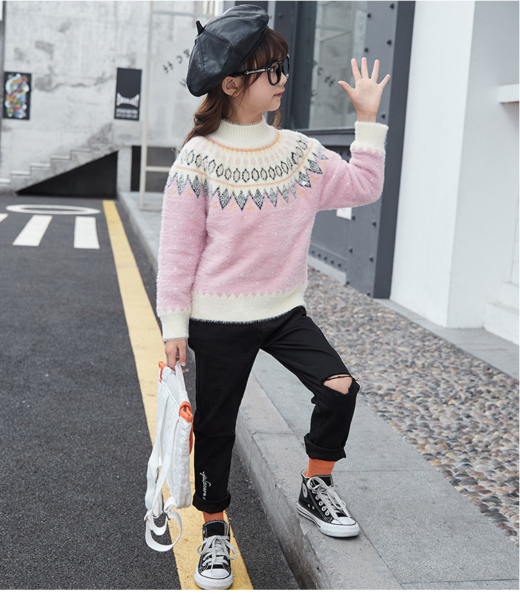 Girl spring big child pullover Western style sweater