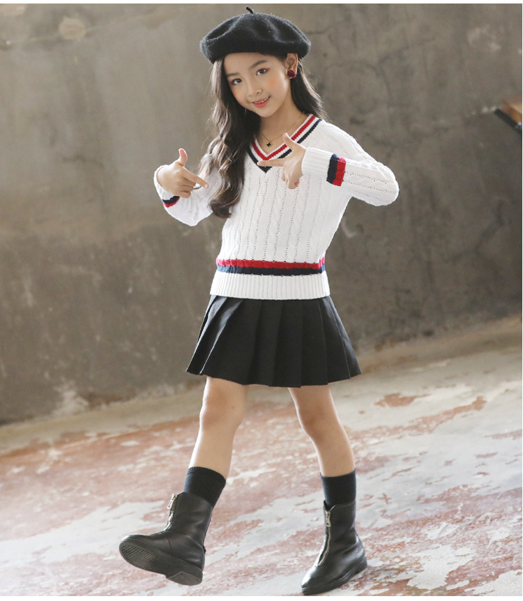 Girl all-match Korean style autumn and winter V-neck sweater
