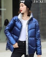 Student short loose coat glossy down cotton coat for women
