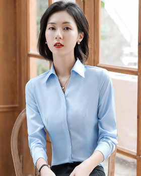 Overalls business shirt buckle long sleeve tops for women