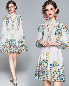 Long sleeve national style printing slim ornament dress