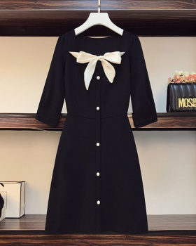 Bow large yard dress fat long sleeve sweater for women